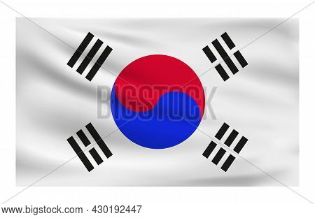 Realistic National Flag Of South Korea. Current State Flag Made Of Fabric. Vector Illustration Of Ly