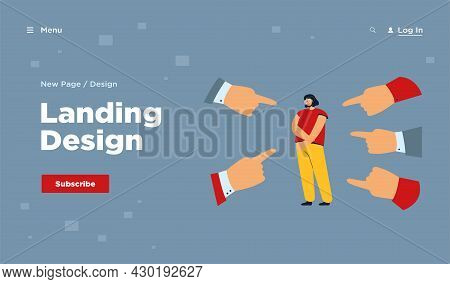 Fingers Pointing At Sad Depressed Girl. People Accusing Young Woman. Cartoon Vector Illustration For