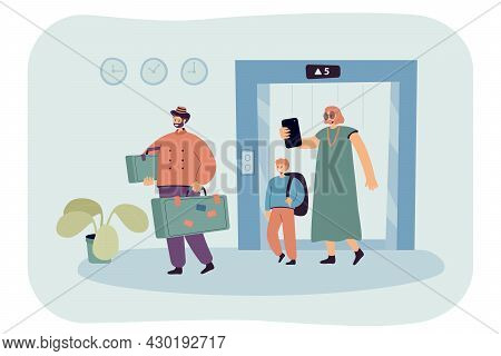 Cartoon Family With Suitcases Exiting Elevator. Flat Vector Illustration. Porter Carrying Suitcases,