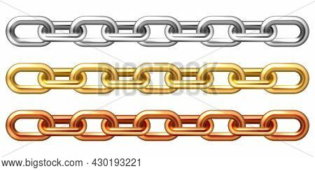 Realistic Golden, Silver And Bronze Chains Isolated On White Background. Metal Chain With Shiny Gold
