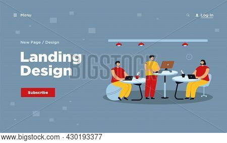 Office Employees Working At Ergonomic Workplaces, Sitting On Fitness Ball Or Standing At Desk And Us