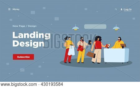 Cartoon People Standing In Queue Flat Vector Illustration. Men And Women Waiting In Clothes Shop In