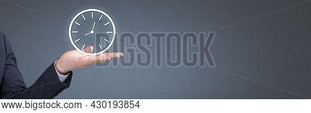 Businessman Holding Clock. Business Time Management. Businessman Hand Holding Clock, Business Time M