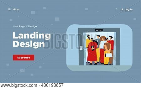 Group Of People Standing In Elevator Isolated Flat Vector Illustration. Cartoon Different Characters