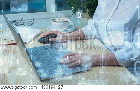 Business And Technology, Software Development, Iot Concept. Double Exposure, Woman Programmer, Softw