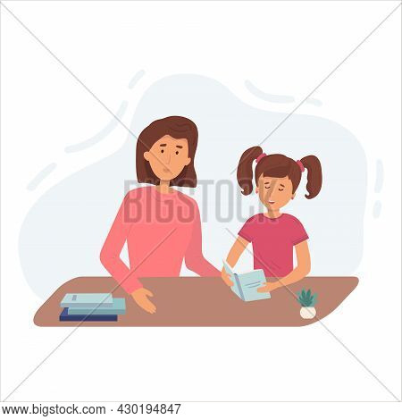 Illustration Of A Mom Praising Her Daughter After He Finished His Homework. Lesson With Mom Or Tutor