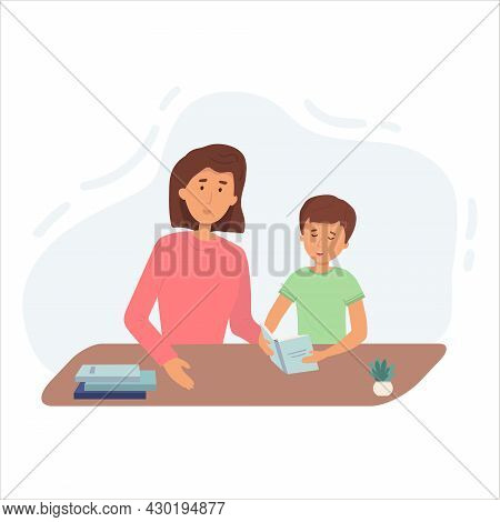 Illustration Of A Mom Praising Her Son After He Finished His Homework. Lesson With Mom Or Tutor. Fla