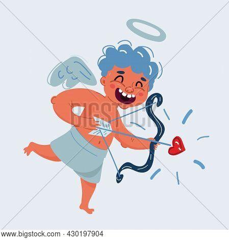 Vector Illustration Of Love Cupid Holding Heart-shaped Arrow