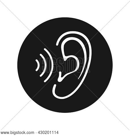 Ear Icon With Sound Wave. Sign Sound And Ear In The Circle Isolated On White Background. Symbol For