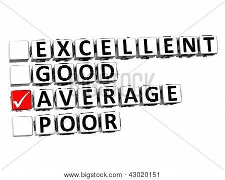 3D Excellent Good Average Poor Button Click Here Block Text