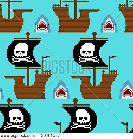 Pirate Ship Pixel Art Pattern Seamless. Pirates 8 Bit Background. Pixelated Vector Texture