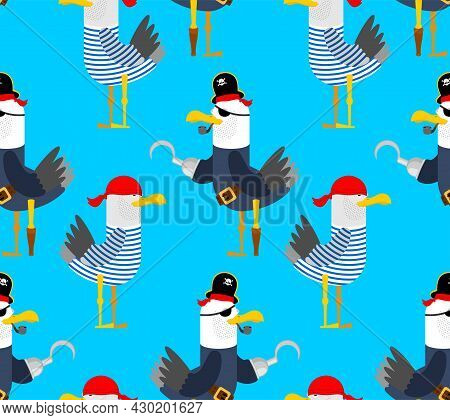 Seagull Pirate Pattern Seamless. Gull In Pirate Clothes Background. Vector Illustration For Holiday