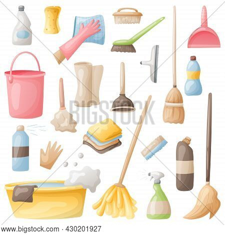 Set Of Vector Icons Of Cleaning, Washing And Freshness. Cartoon Bottles Of Detergent, Mops, Washclot