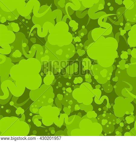 Fart Pattern Seamless. Green Smoke Gas Background. Farting Texture