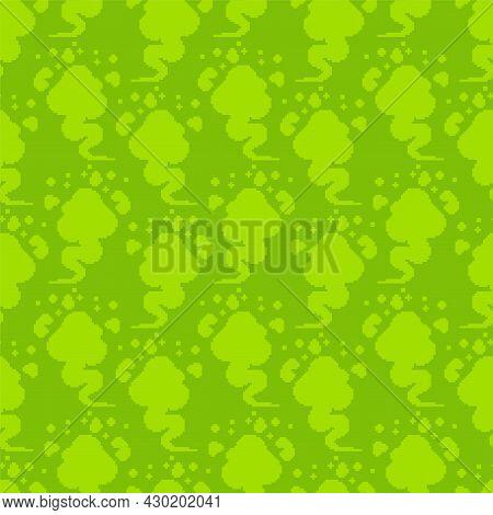Fart Pixel Art Pattern Seamless. 8 Bit Green Smoke Gas Background. Pixelated Farting Texture