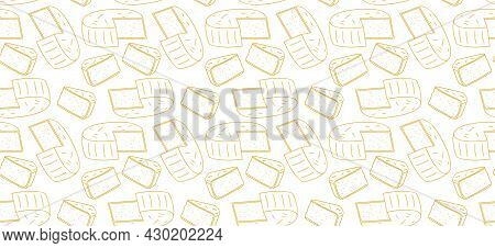 Light Seamless Pattern With Round Large Cheese. Image For An Article About Farms And Livestock. Back