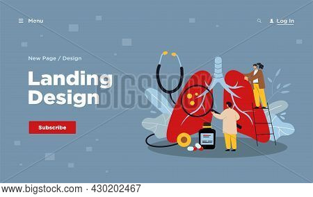 Tiny Doctors Diagnosing Giant Lungs Or Respiratory System. Flat Vector Illustration. Cartoon Medic P
