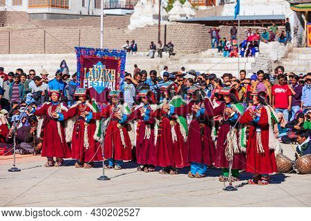 Leh, India - September 26, 2013: Unidentified People Dancing In Traditional Ethnic Clothes At Ladakh
