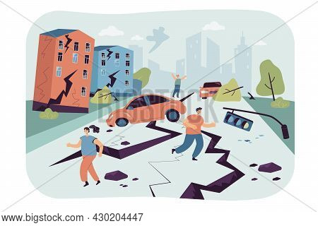 People Escaping Earthquake Flat Vector Illustration. Emergency, Natural Disaster In City, Cracks In