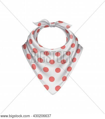 Bandana Scarf Buff Handkerchief Realistic Composition With Isolated Image With Red On White Polkadot