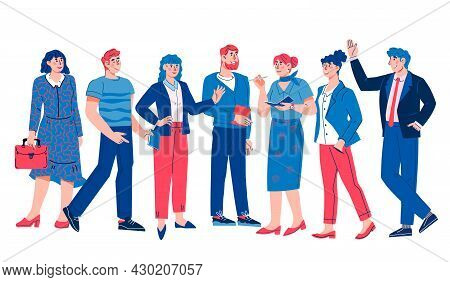 Business People Team Flat Cartoon Vector Illustration Isolated On White Background. Group Of Manager