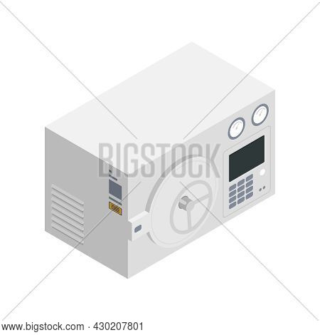 Microbiology Biotechnology Isometric Composition With Isolated Image Of Laboratory Safe Box Vector I