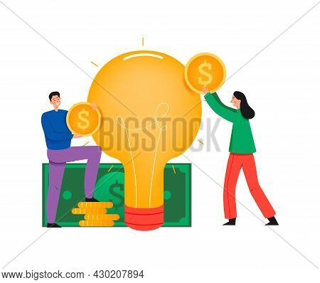Crowdfunding Composition With Flat Icons Of Idea Lamp Cash And People Holding Coins Vector Illustrat