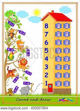 Math Education For Children On Addition And Subtraction. On What Floor Of The House Lives Every Anim