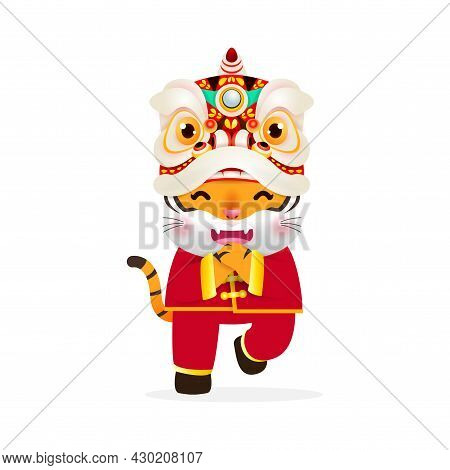 Happy Chinese New Year 2022 The Year Of The Tiger, Cute Little Tiger Performs Lion Dance, Greeting C