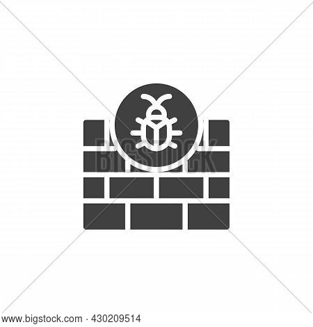 Firewall Hacking Vector Icon. Filled Flat Sign For Mobile Concept And Web Design. Firewall Cyber Att