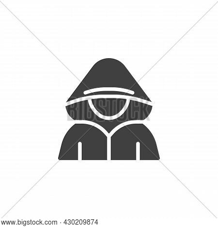 Faceless Hacker Vector Icon. Filled Flat Sign For Mobile Concept And Web Design. Computer Hacker Gly