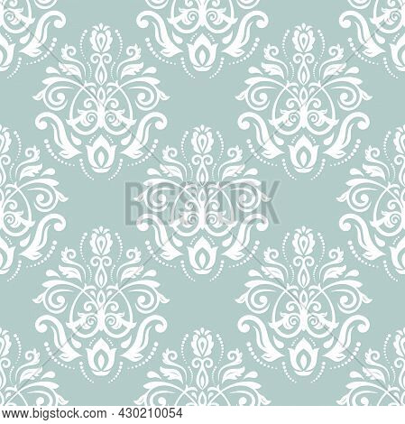 Orient Vector Classic Light Blue And White Pattern. Seamless Abstract Background With Vintage Elemen