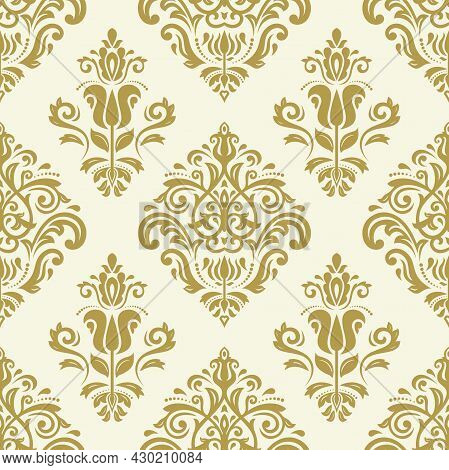 Classic Seamless Vector Pattern. Damask Orient Ornament. Classic Vintage Background. Golden Ornament