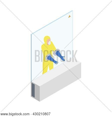 Microbiology Biotechnology Isometric Composition With Worker In Chemical Suit Behind Barrier With Ho