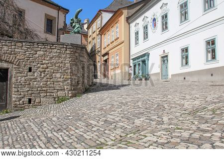 Kutna Hora, Czech - April 28, 2012: This Is One Of The Crossroads On Barborska Street, Which Is The