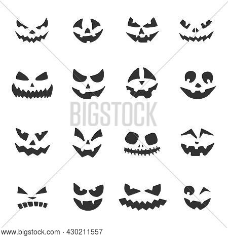 Set Of Halloween Pumpkins Faces. Jack-o-lantern With Different Facial Expressions. Halloween Ghost F