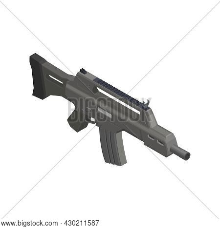 Army Weapons Isometric Composition With Isolated Image Of Semiautomatic Rifle Vector Illustration