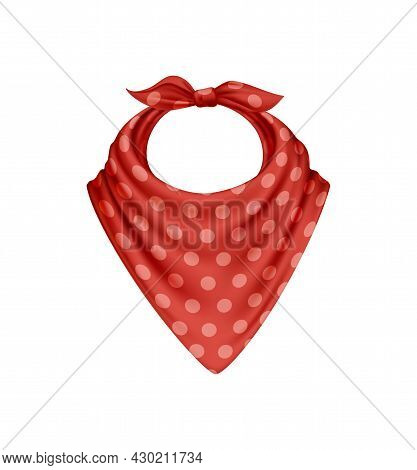 Bandana Scarf Buff Handkerchief Realistic Composition With Isolated Image With Red Polkadot Pattern