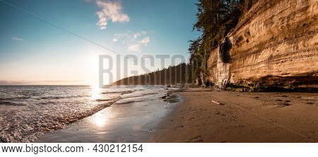 Panoramic View Of Mystic Beach On The West Coast Of Pacific Ocean. Summer Sunny Sunset. Canadian Nat