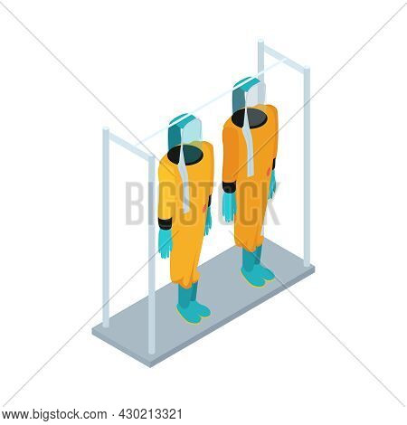 Isometric Infectious Disease Doctor Scientist Virologist Composition With Two Chemical Protection Su