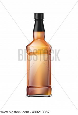 Brandy Cognac Whiskey Glass Bottles Composition Of Realistic Square Shaped Bottle With Brown Liquid