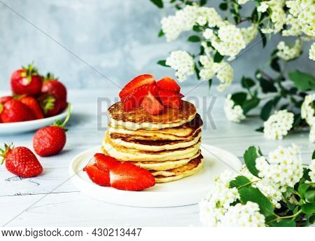 Delicious American Pancakes With Sweet Strawberries. Breakfast Time Concept
