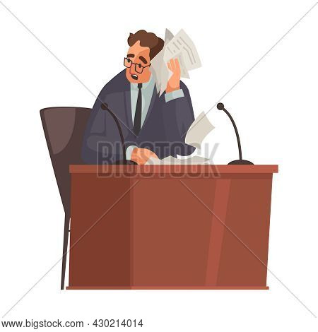 Law Justice Composition With Doodle Character Of Attorney Holding Bunch Of Papers Vector Illustratio