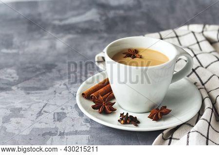 Indian Masala Chai Tea. Tea With Milk.