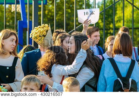 High School Students Met At The Lineup On September 1 At School. Moscow, Russia, September 2, 2019