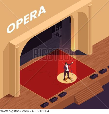 Opera Theatre Isometric Poster With Singing Performance Symbols Vector Illustration