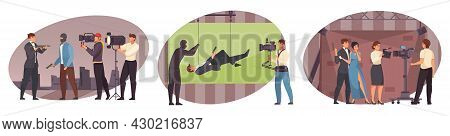 Movie Production Tree Isolated Scenes Wit Actors Cameraman Director Stuntman Characters Flat Vector