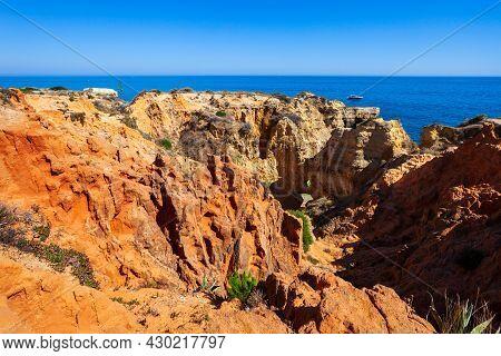 Sao Rafael Beach With Beauty Limestone Cliff Aerial View, Albufeira City In Algarve Region, Portugal