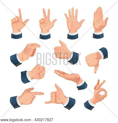 Human Hands Office Gestures Set Corporate Businessman Pointing Finger Ok Sign Showing Confidence Agr