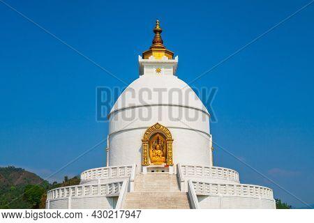 Pokhara Shanti Stupa Or World Peace Pagoda Is A Buddhist Pagoda Style Monument In Pokhara City In Ne